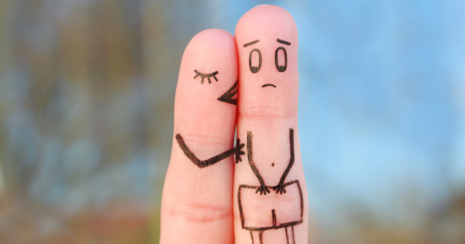 Fingers art of couple. Concept of impotence.