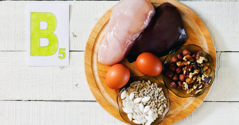 Foods that contain vitamin B 5: walnuts, hazelnuts, sunflower seeds, pumpkin seeds, meat, liver, eggs