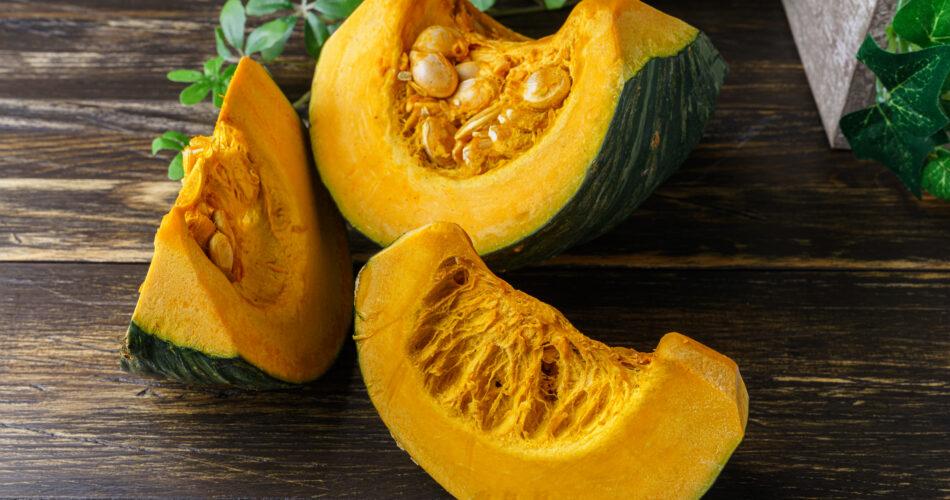 Fresh Japanese pumpkin with pumpkin seeds