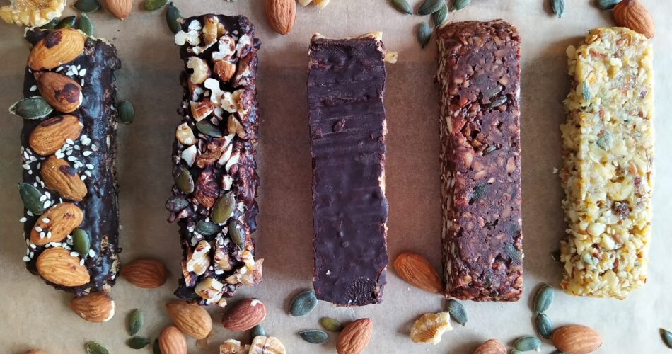 Health vegetarian cereal bars with seeds and nuts