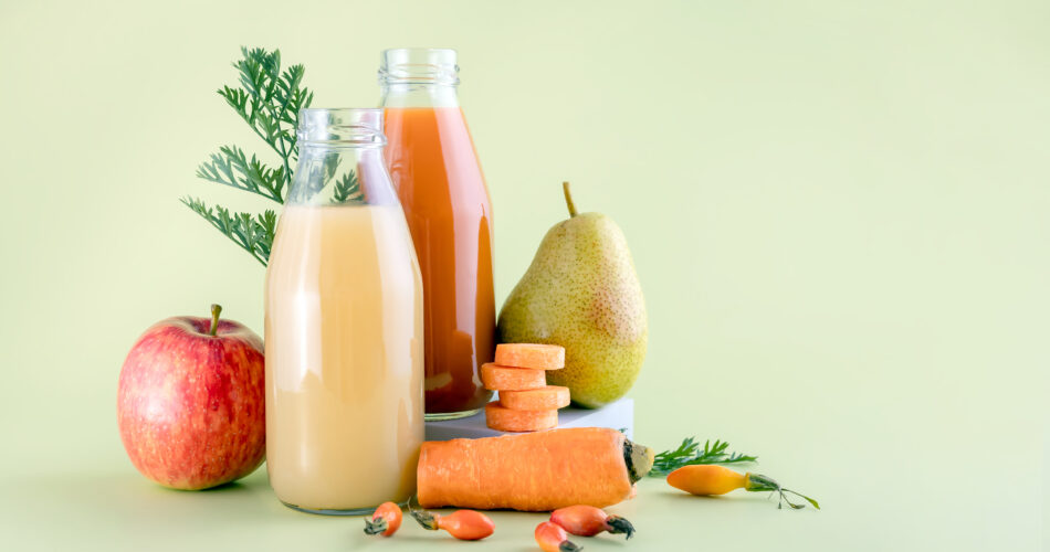 healthy juices from apples,pears, carrots and rosehip berries
