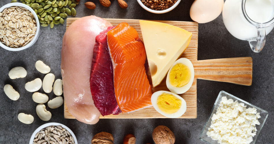 High protein food as meat, fish, dairy, eggs, buckwheat, oatmeal, nuts, bean, pumpkin seed and sunflower seed. Top view.