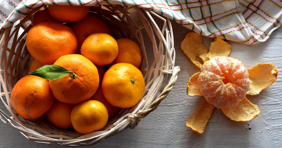 Sweet organic tangerine/mandarin/ Closeup still life food photography