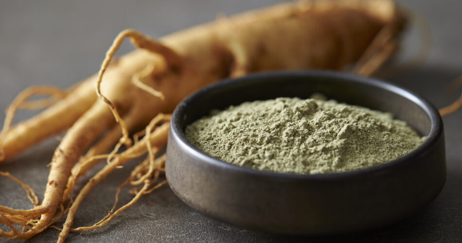 Tea powder with ginseng root