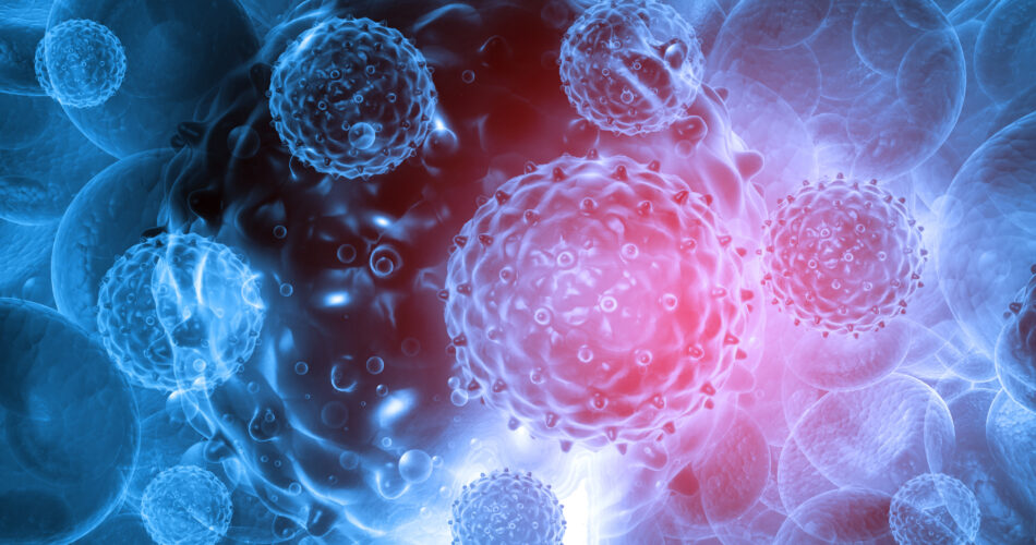 Virus on abstract background. 3d render