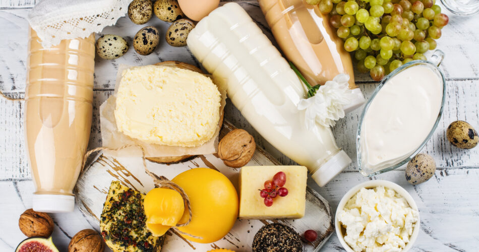 Assortment of dairy farm products on wooden table. Copy space
