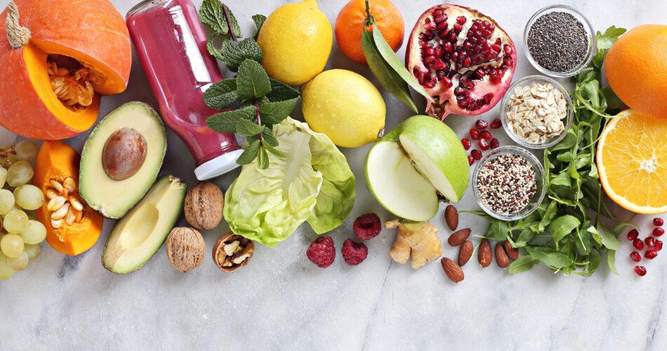 Seasonal healthy plant based food cooking ingredients. Meals variete for vegetarian, clean eating, keto and super food concepts. Overhead view, copy space