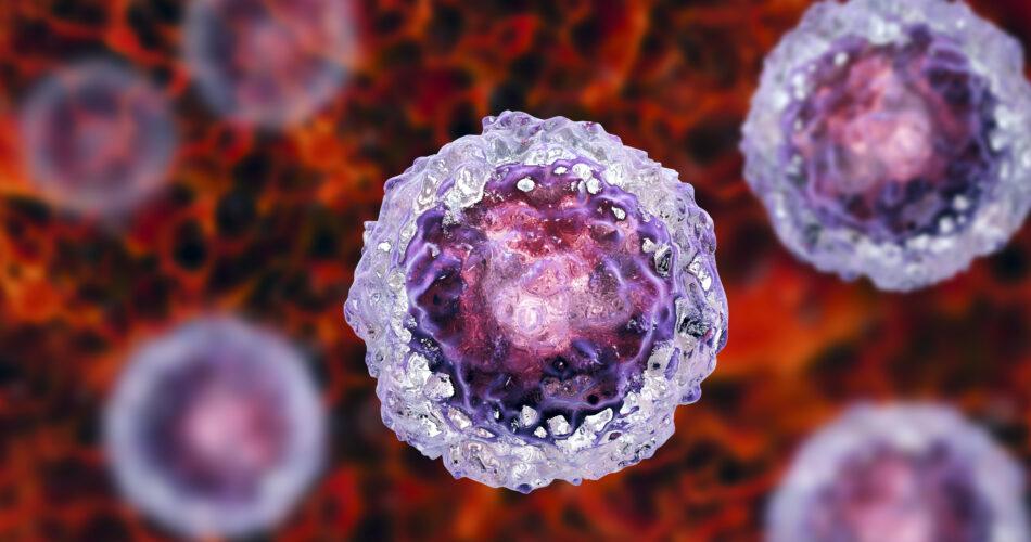 Stem cells on colorful background, 3D illustration